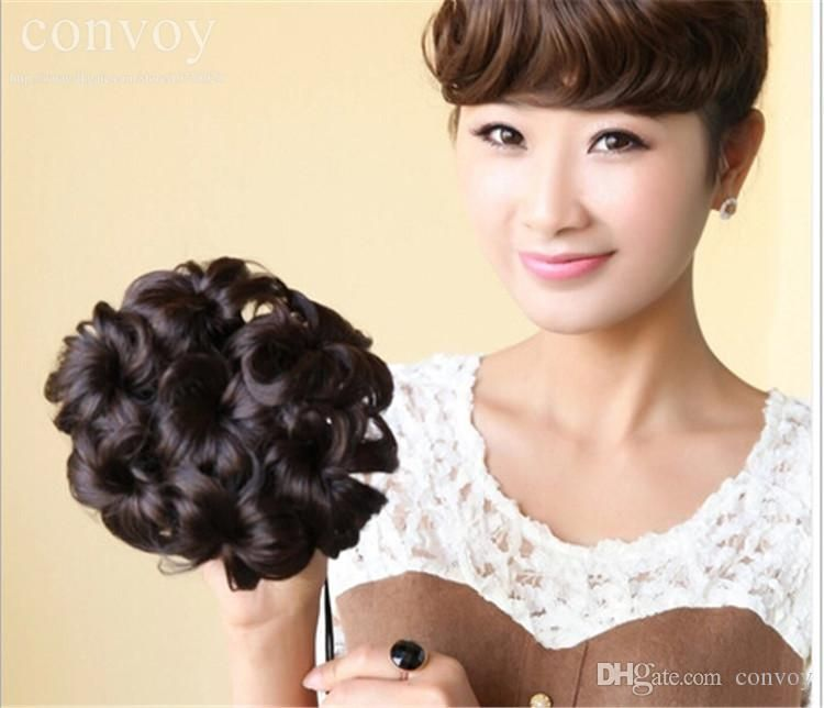 Discount New Womans 12cm Curly Wave Buns Bride Chignons Hairpiece
