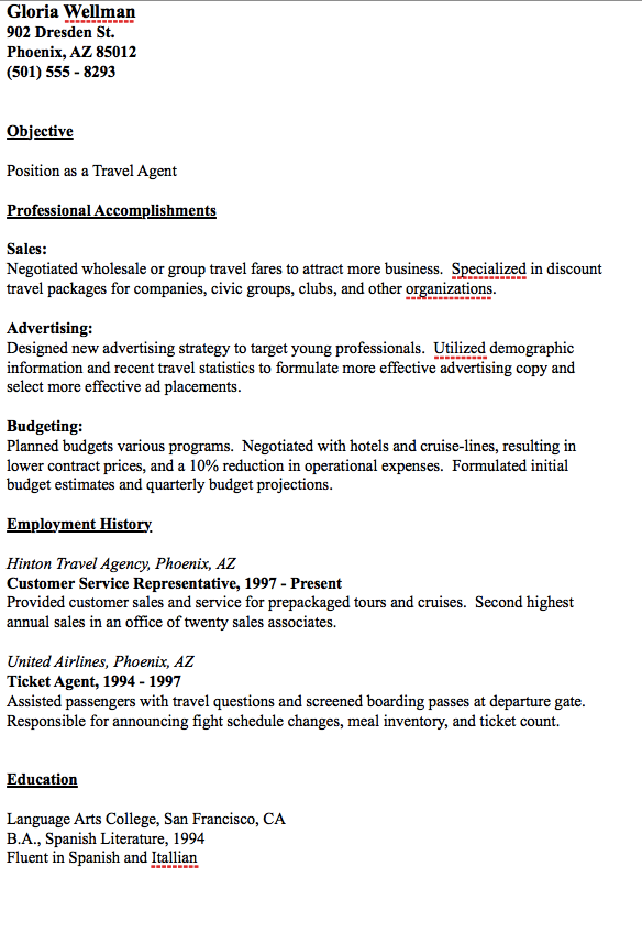 Travel Agent Resume Example  HttpResumesdesignComTravel