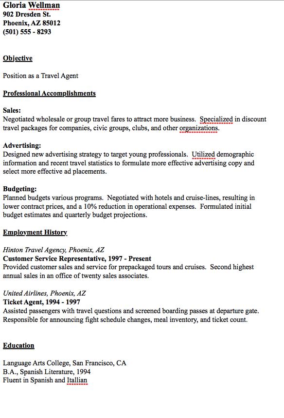 Travel Agent Resume Example Resumesdesign