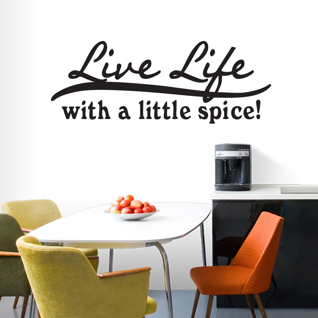Live life with a little spice wall decal kitchen wall decals wall