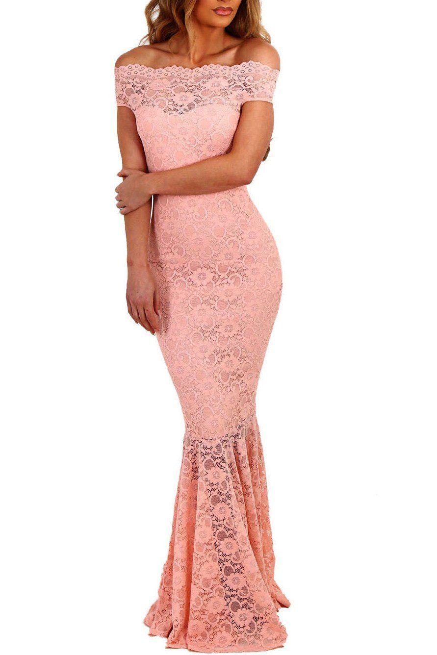 Robe de Soiree Longue Dentelle Rose Bardot Sirene | Rosas