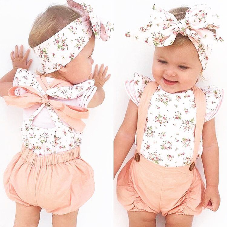 US Cute Newborn Baby Girl Floral Romper Bodysuit Jumpsuit Summer Outfits Clothes