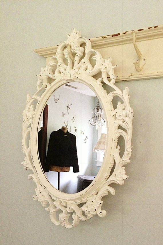 Large Ornate Oval Mirror White Distressed Baroque By Farmhousefare