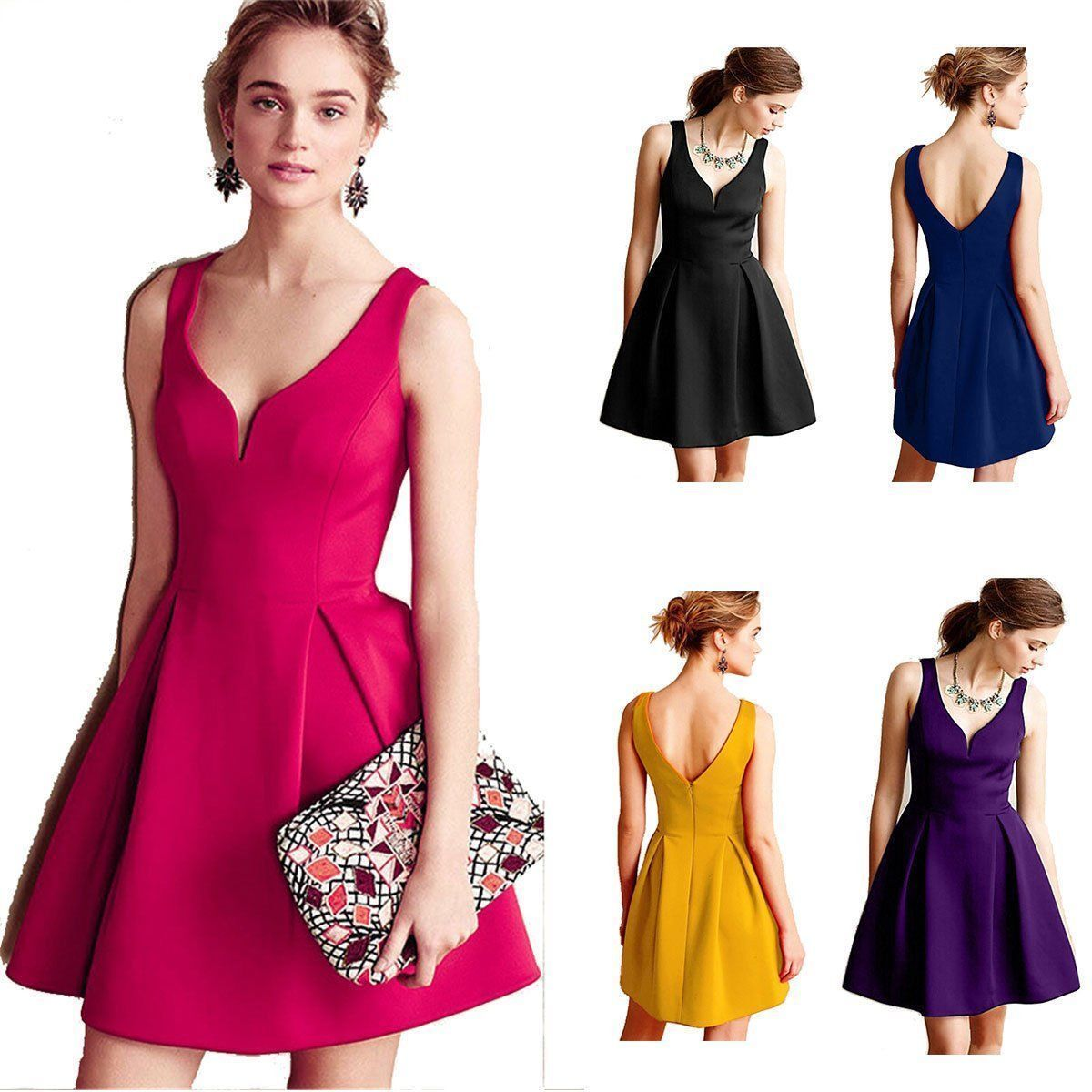Cool amazing women vneck backless cocktail gown party evening prom