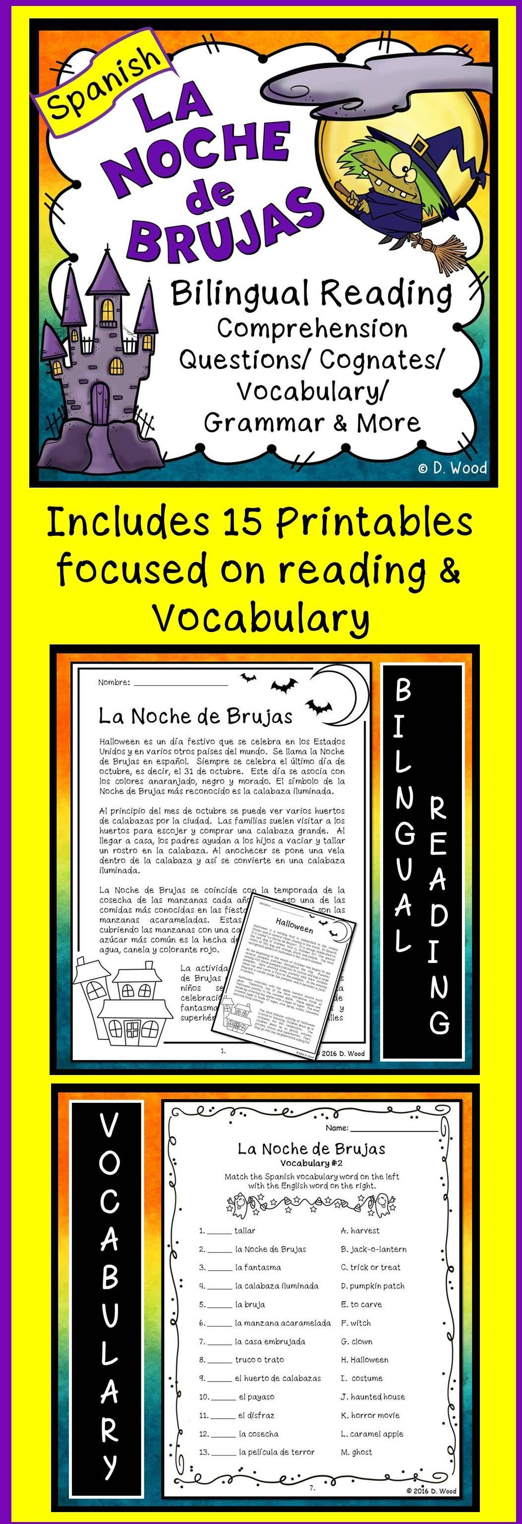 Halloween Spanish La Noche De Brujas Reading Vocabulary Spanish Reading Activities Learning Spanish [ 3072 x 1053 Pixel ]