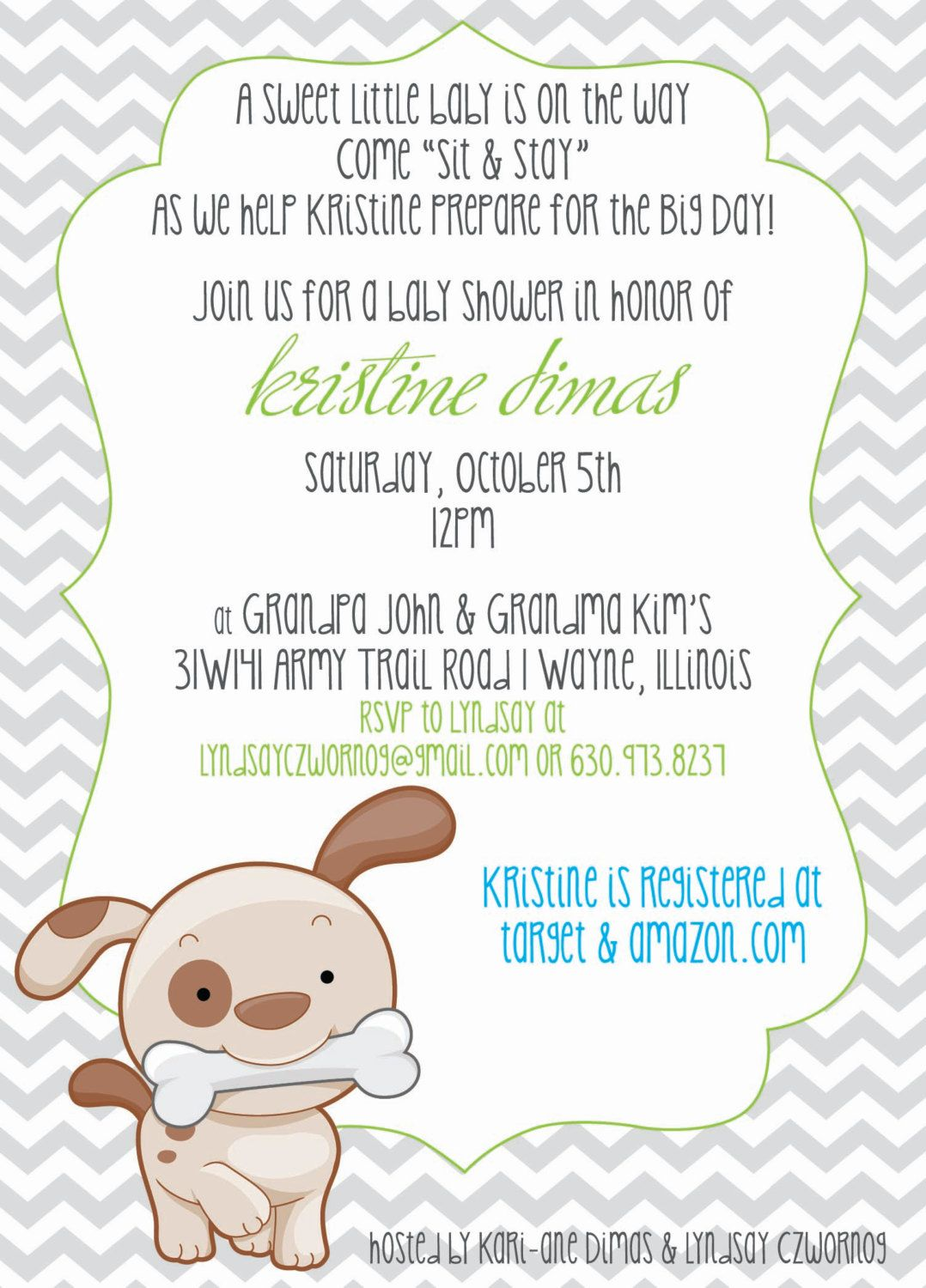 Chevron & Puppy or Dog Theme Baby Shower Invitation by ElsyPaper ...