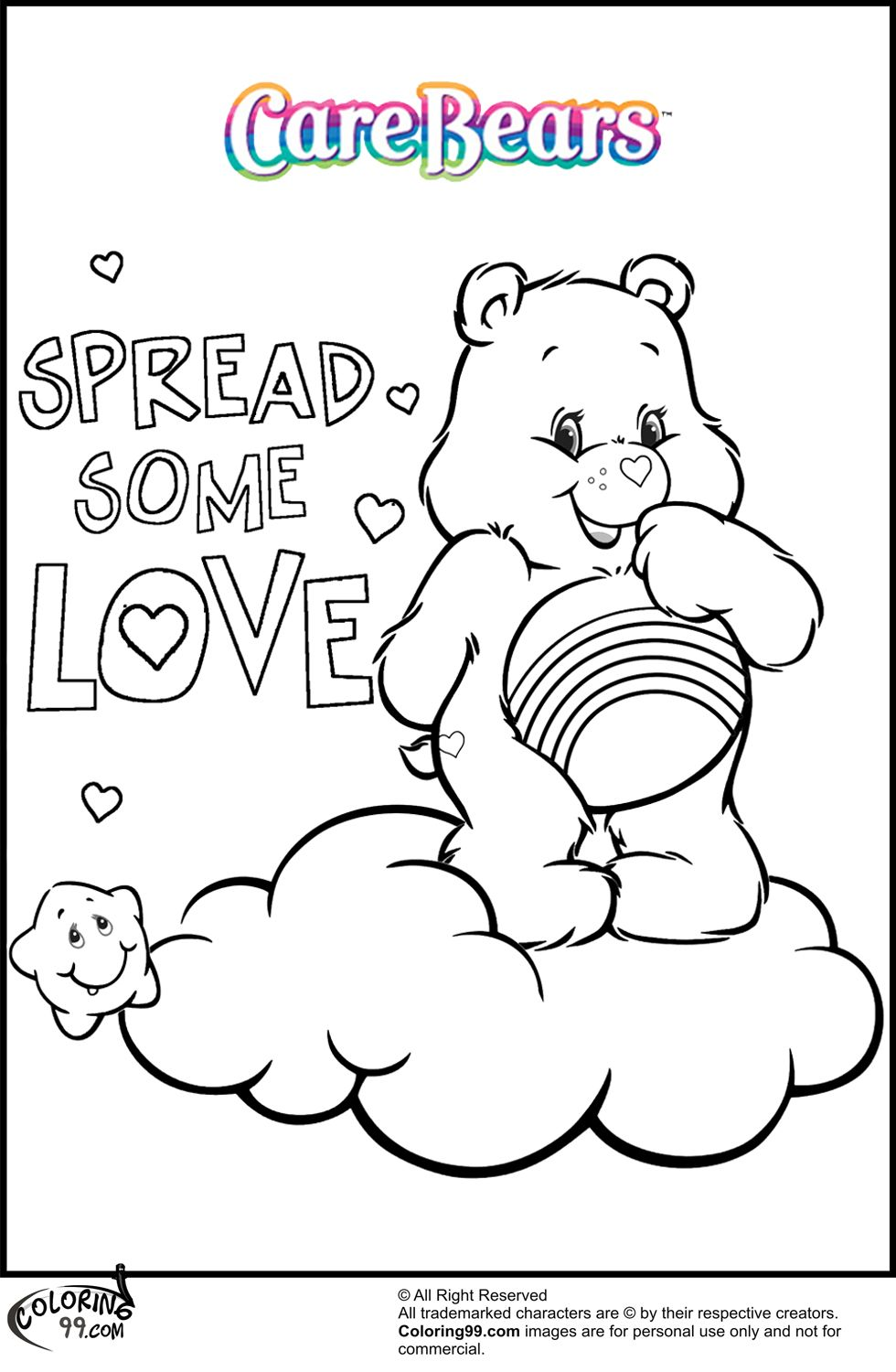 Free coloring pages care bears