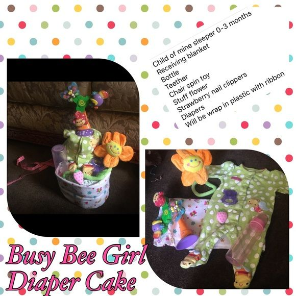 Busy bee diaper cake Wrap in plastic with ribbon Other
