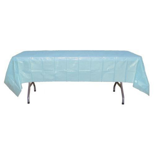 Light Blue Plastic Table Cover By Exquisite 1 09 High Opacity Covers Any Table With Minimal Transparency 54 X 108 Covers Any Toys Games Plastic Table Covers Plastic Tablecloth Table Covers