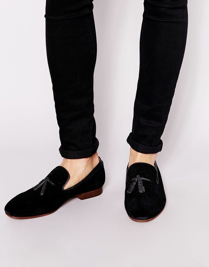 House Of Hounds Suede Tassel Slipper Loafers - Black House Of Hounds