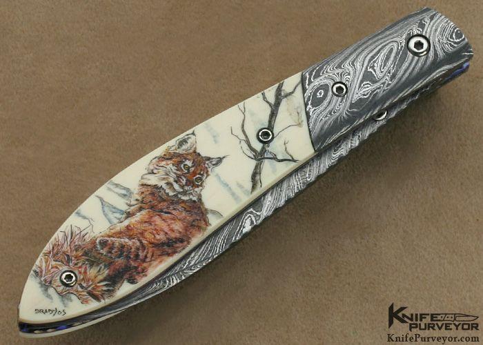 Bill Ogden 100th Custom Knife Sandra Brady Scrimshawed & Damascus Linerlock