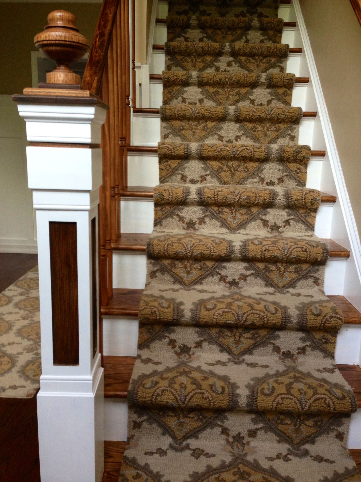Custom Newel Post Diy Runner Wax Stain On Stairs Custom Newel Post And Finial