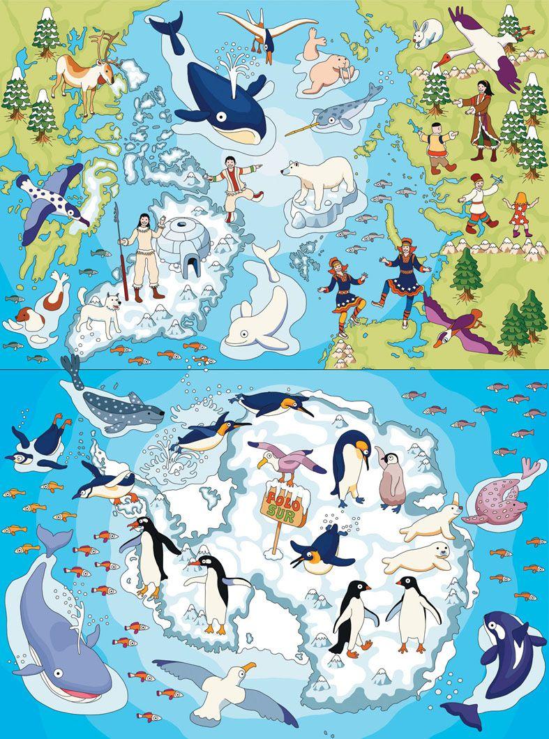Arctic And Antarctic Maps Quino Marin Map Arctic Antarctic - Arctic map