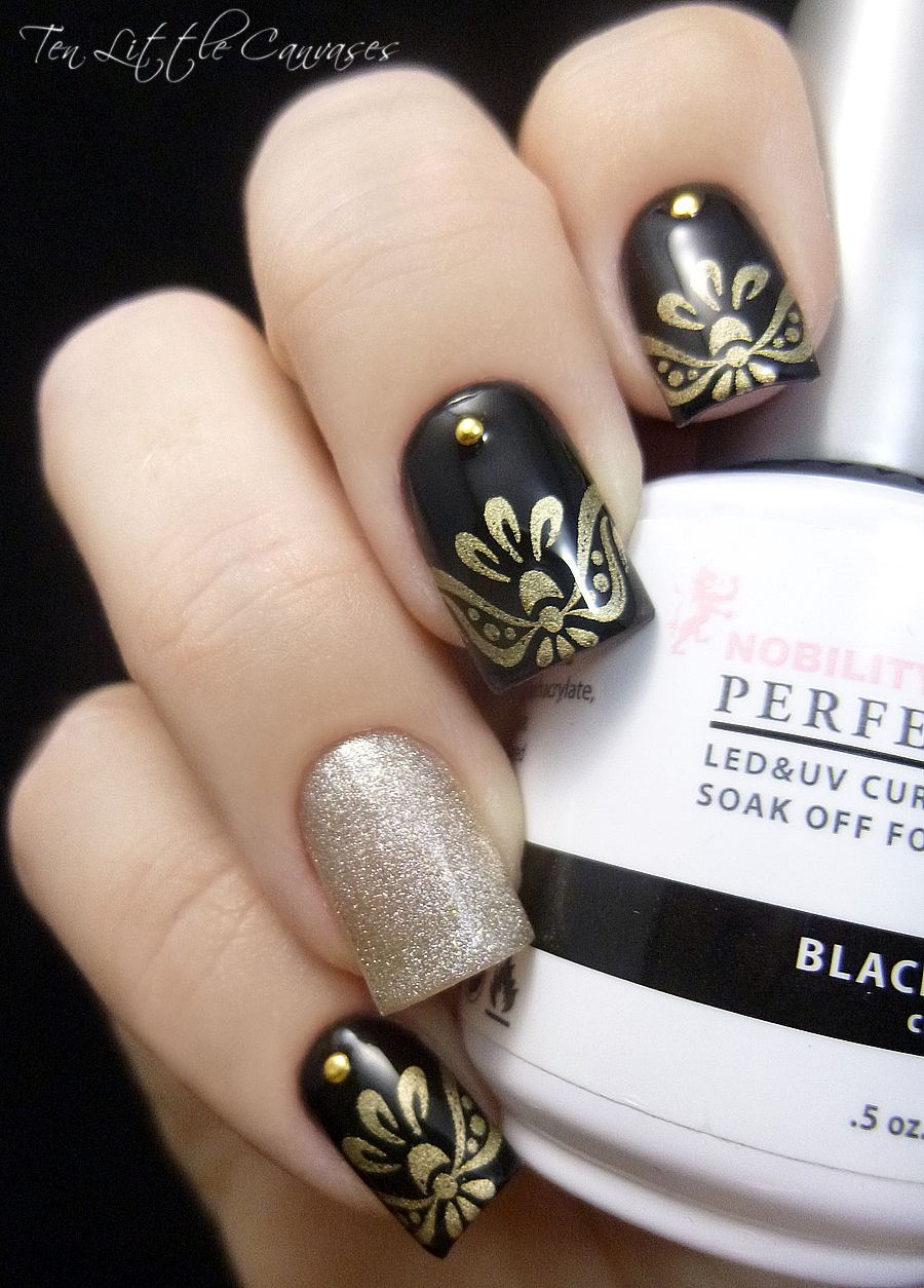 Weekly Mani: Elegant black with gold stamped tips   Ten Little ...