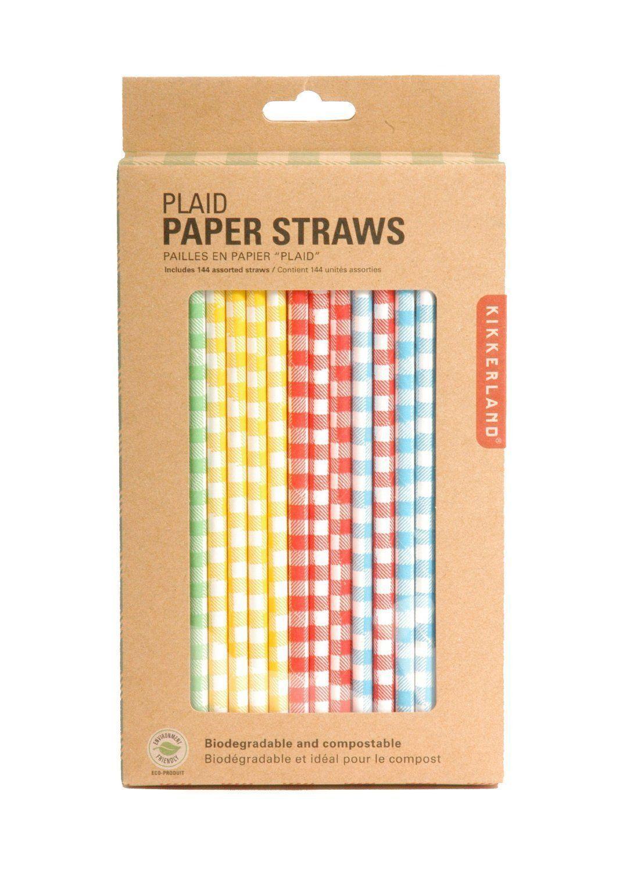 kikkerland paper drinking straws box  gingham color plaid  - kikkerland paper drinking straws box  gingham color plaid biodegradablecu
