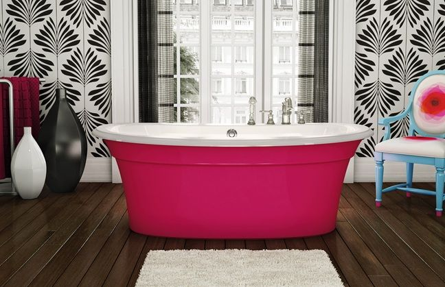 Maax Ella Sleek Hot Pink Freestanding