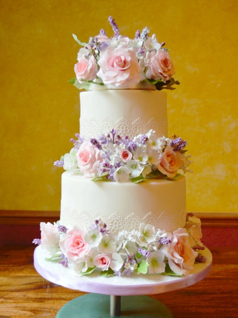 Romantic floral and lace wedding cake - rose, lavender and hydrangea ...