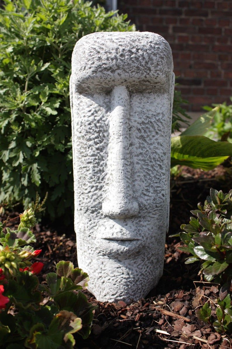 Easter Island Head Concrete Rock Face Moai Statue Cement Etsy In 2020 Concrete Garden Ornaments Concrete Statues Concrete Garden