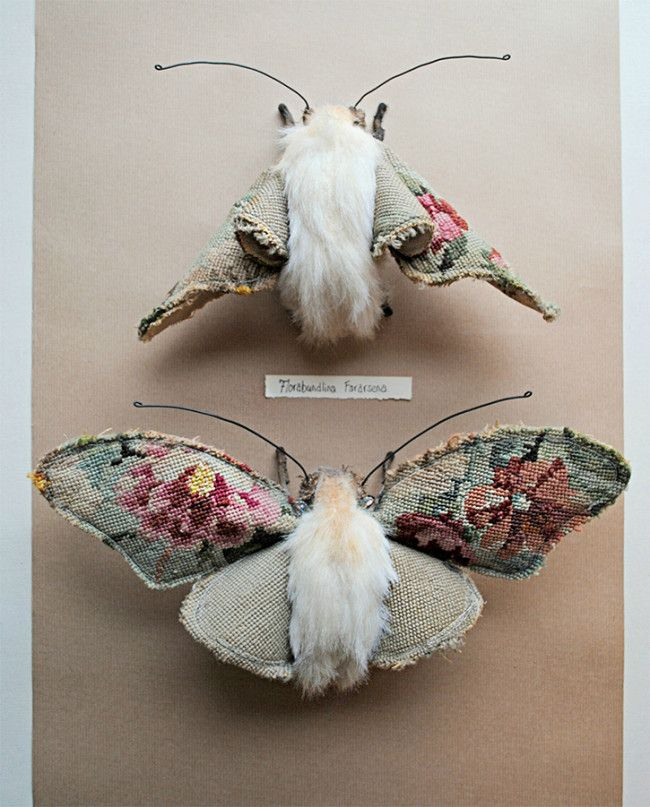 Yorkshire-based Mister Finch uses vintage textiles such as old aprons, used curtains, and a recycled wedding dress, to fashion out new life in the form of birds, spiders, rabbits, and other creatures.