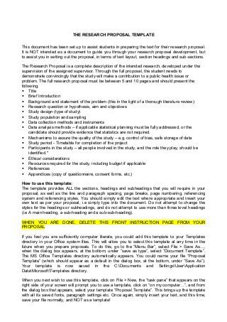 Research Proposal Template Stude Pinterest Proposal Templates