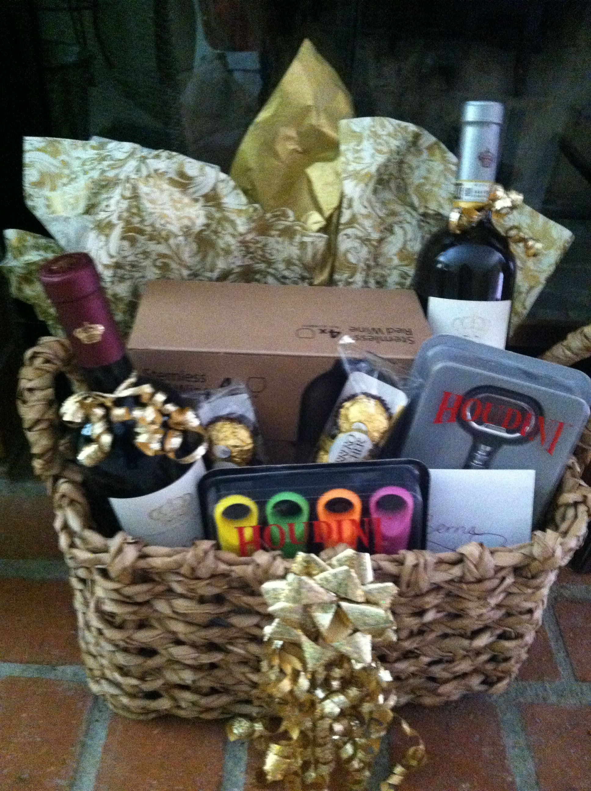Wine basket I made for a Bridal Sower Diy wine gift