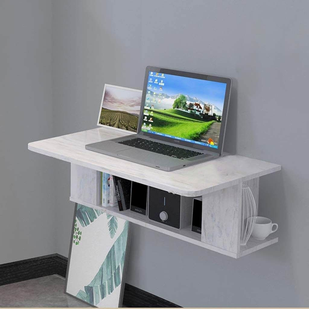 Small Marble Printed Wall Desk Ideas Wall Desk Desk Wall Mounted Table