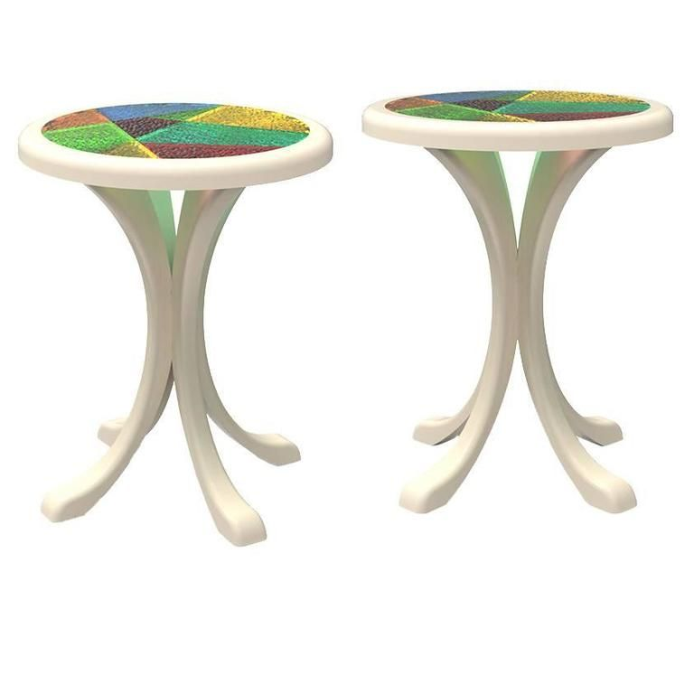 Pair Of European Modern Lacquered White, Colored Stained Glass Round  Sidetables 1