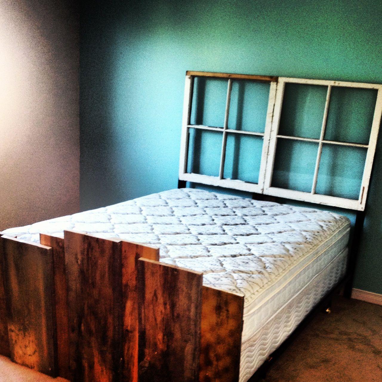 Diy bedroom headboard ideas diy head board and footboard maybe put shelves or cabinets in