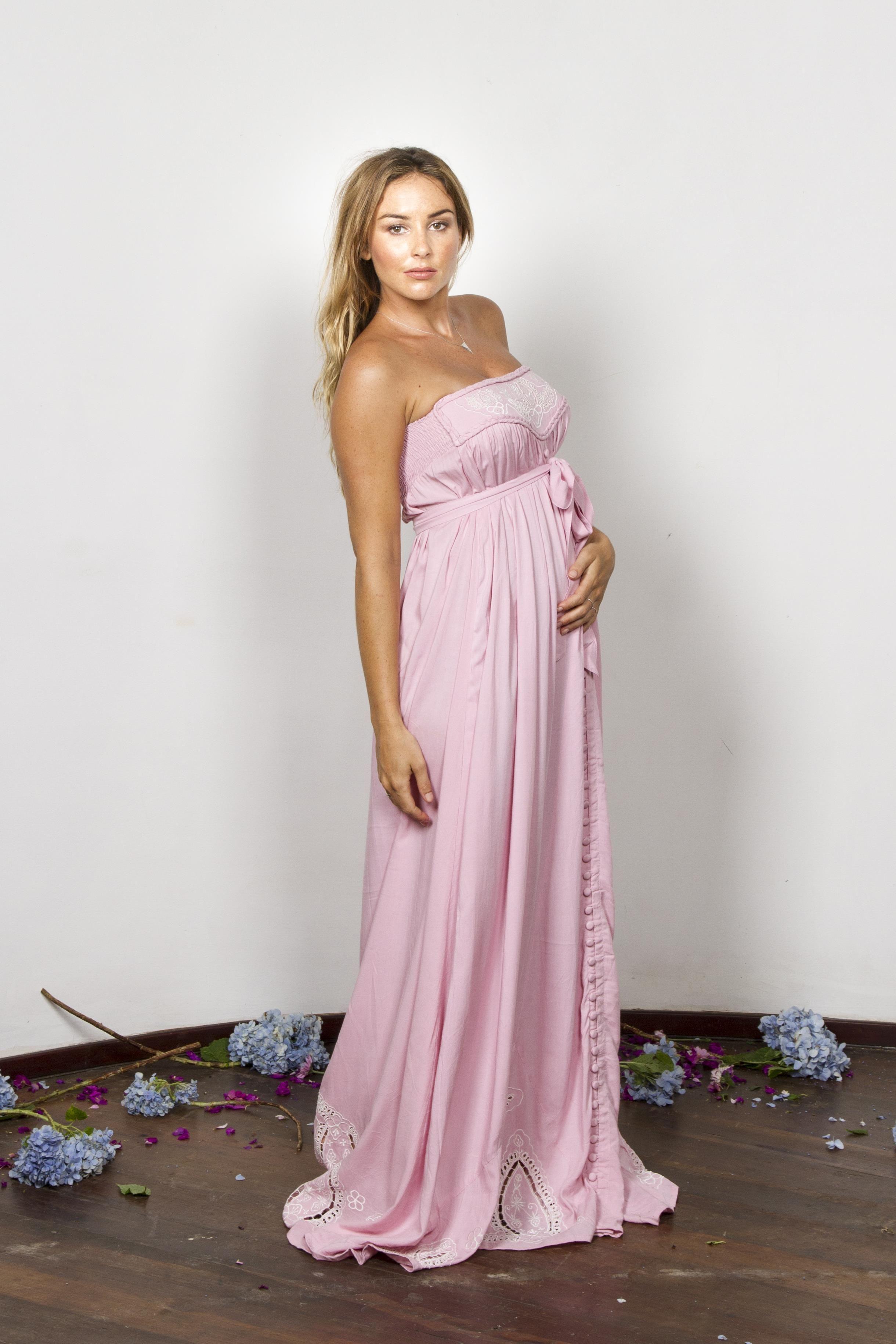 9626170d25793 Light Pink Chiffon Colorblock Plus Maternity Maxi Dress