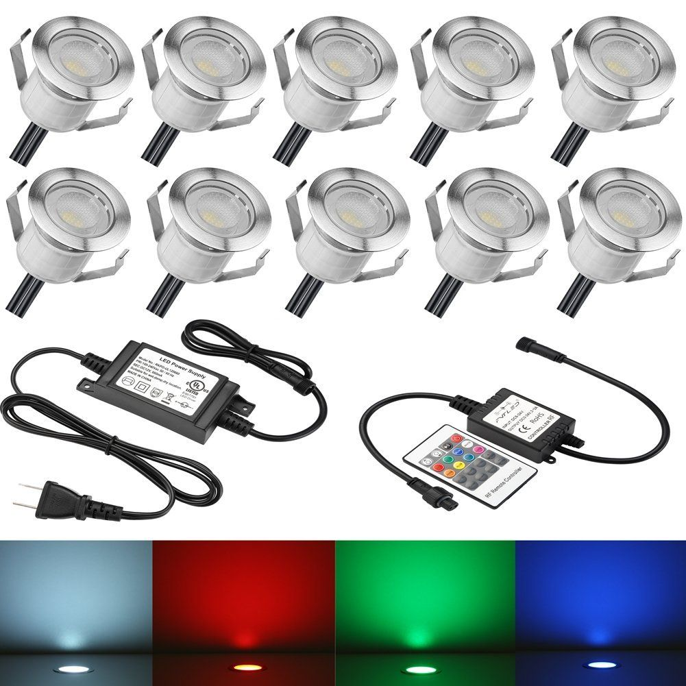 Fvtled 10pcs 0 3w Low Voltage Led Deck Lights Kit Garden Decoration Multi Color Rgb Light Outdoor Recessed Wood Decking Yard Patio Stairs Landscape In Ground Li Led Deck Lighting Deck Lights Outdoor Lighting
