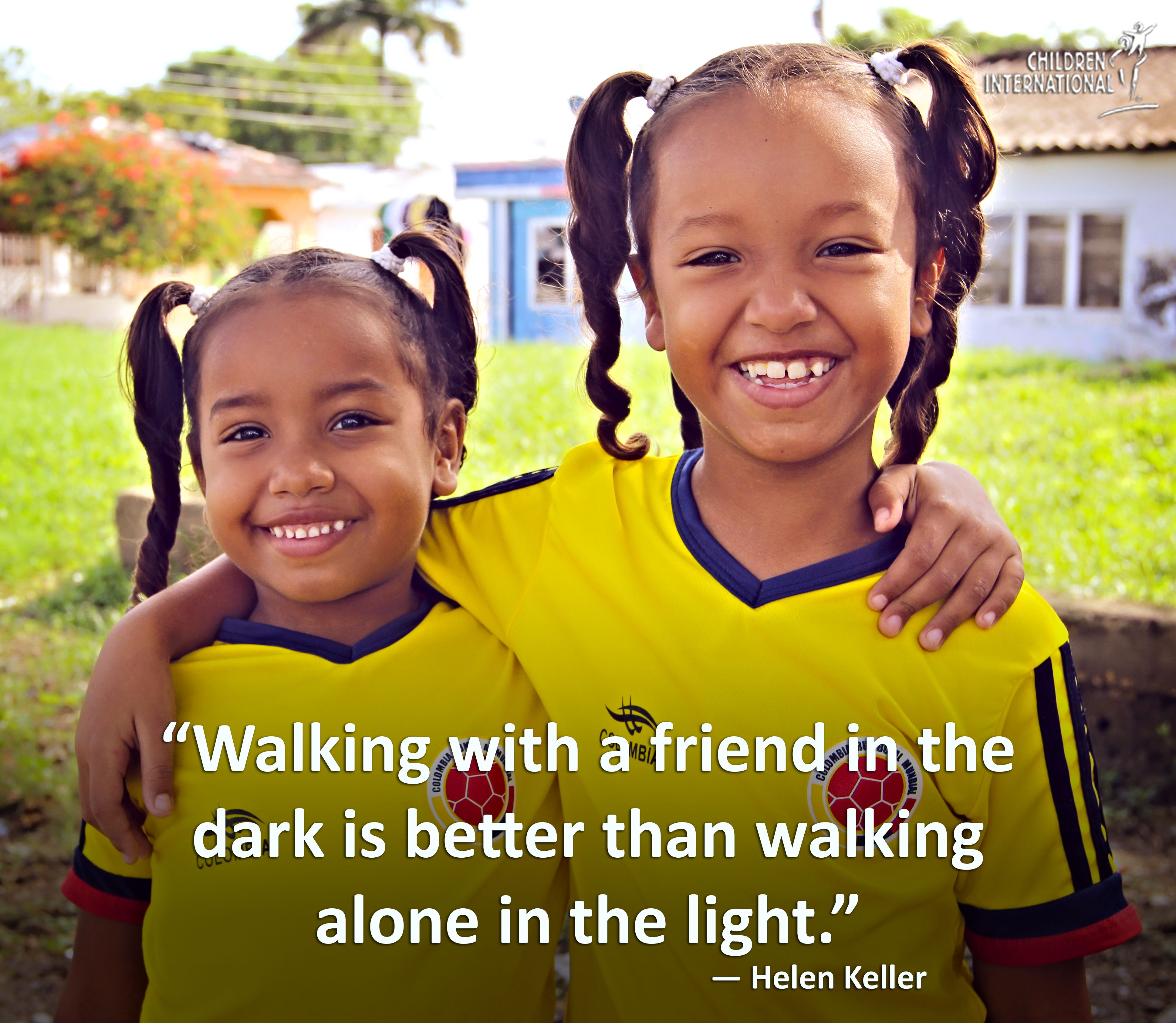 Walking with a friend in the dark is better than walking