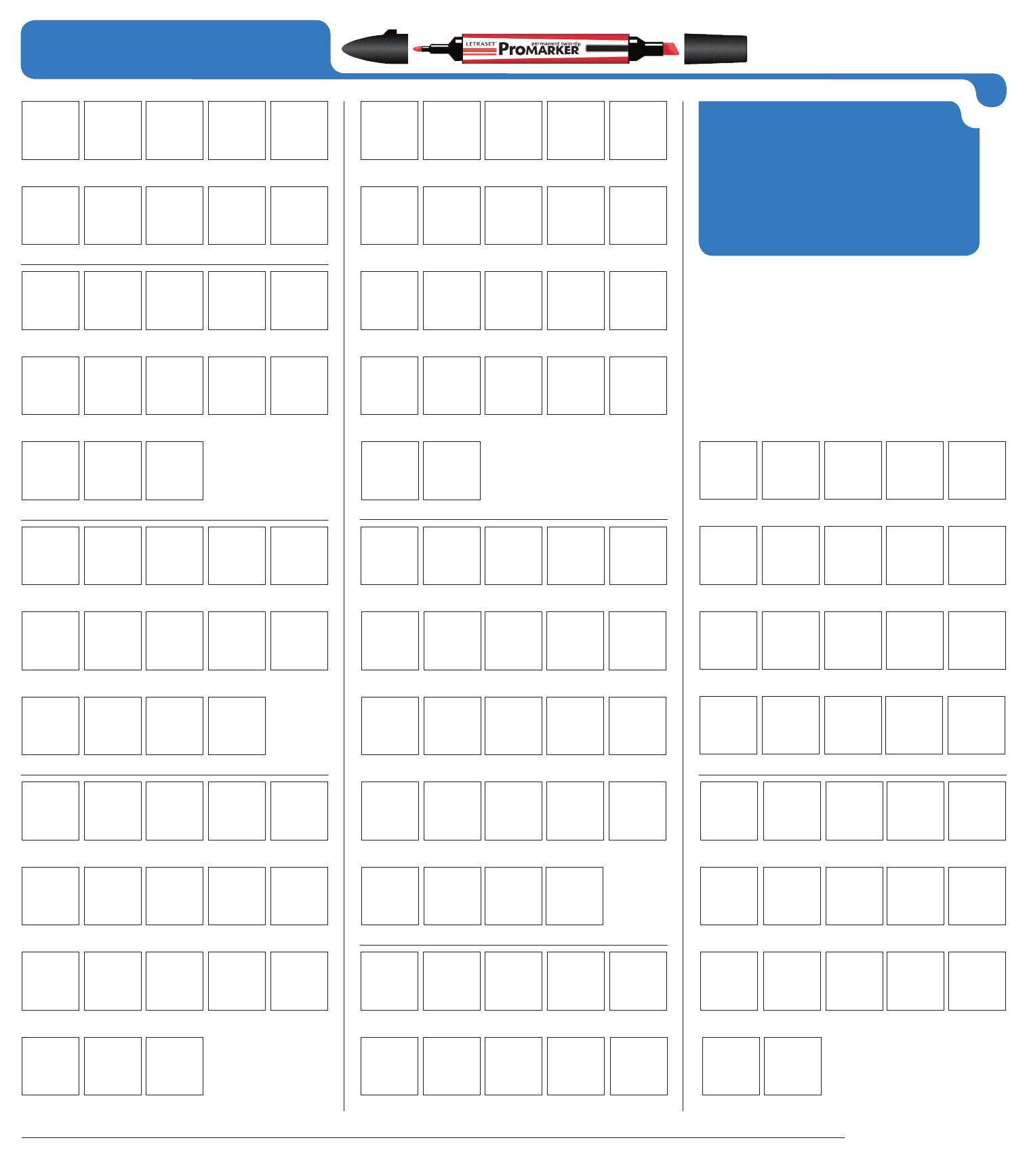 Promarker Colour Chart Marqueur Et A Imprimer