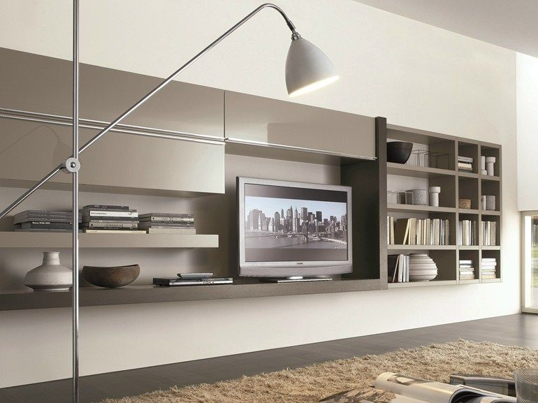 Mueble modular de pared composable montaje pared lacado Crossing - muebles de pared