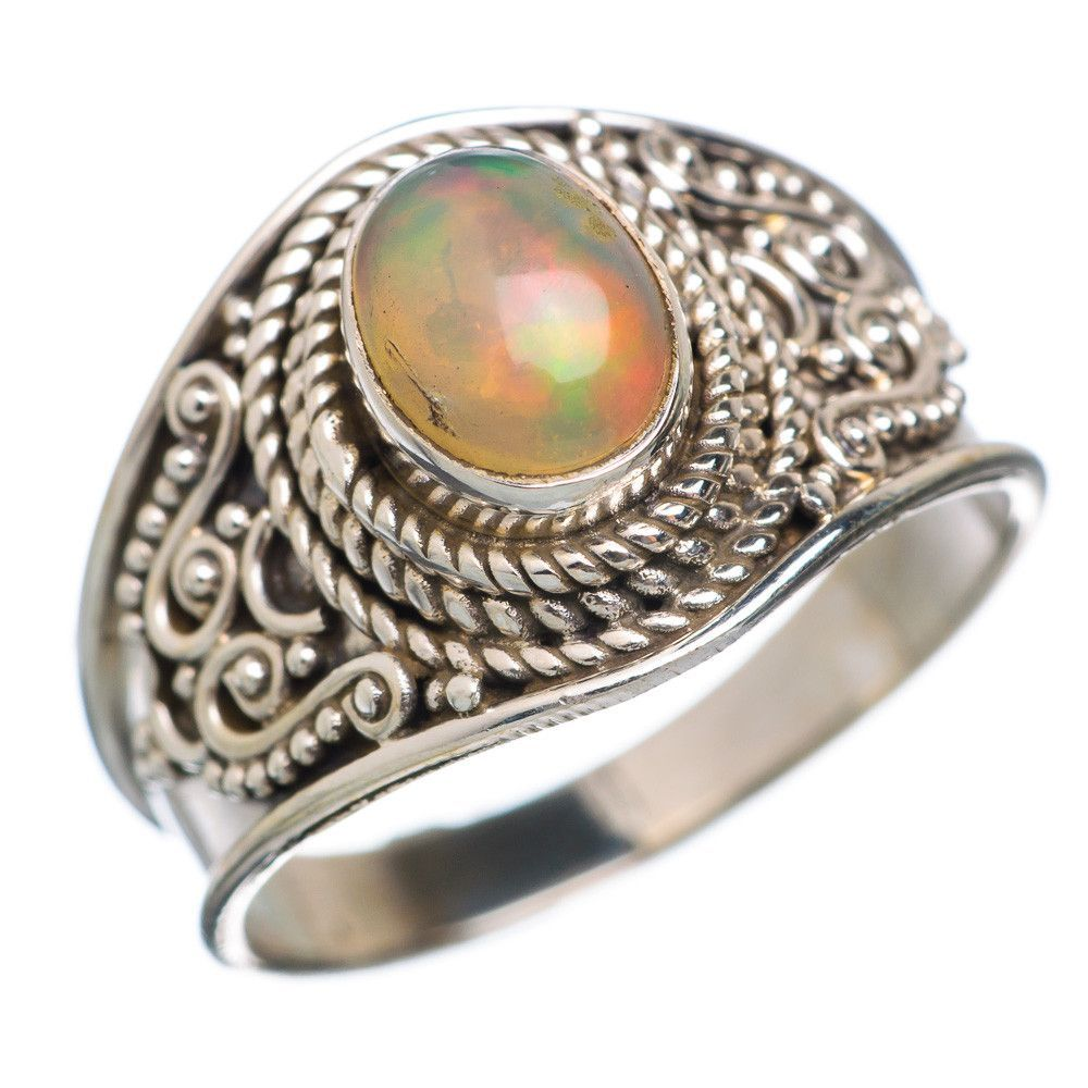 Natural Ethiopian Opal 925 Sterling Silver Ring Size 8.5 RING665056