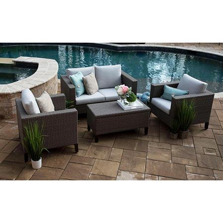 Laurel 4 Piece Deep Seating Set With Sunbrella Fabric Sam S Club Backyard Furniture Deep Seating Resin Patio Furniture