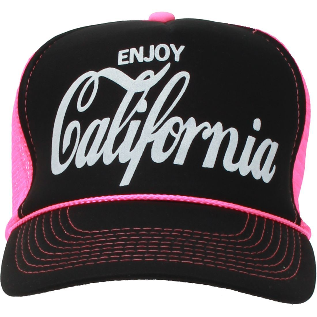 1cad89a6d4d California Republic Cola Snapback Hat - White Print Neon Pink Curve Bill -  Black Crown