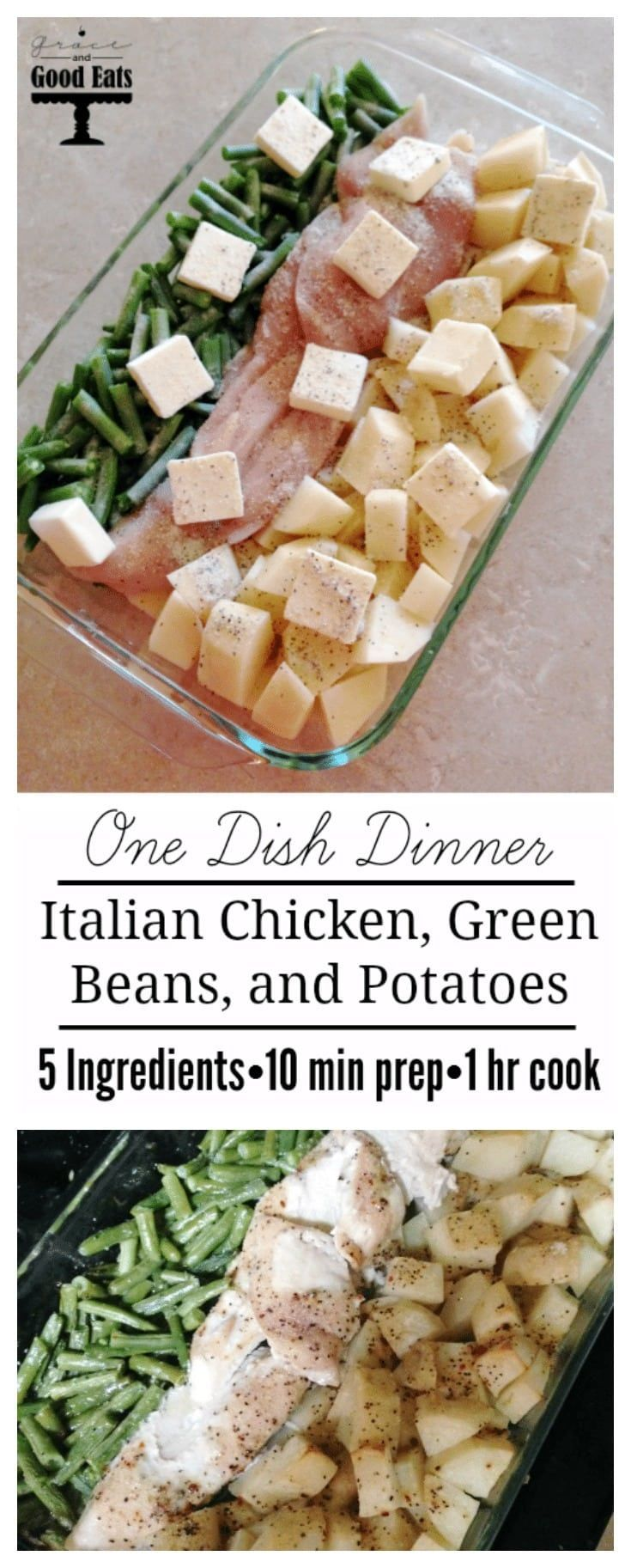 Italian supper with chicken, green beans and potatoes