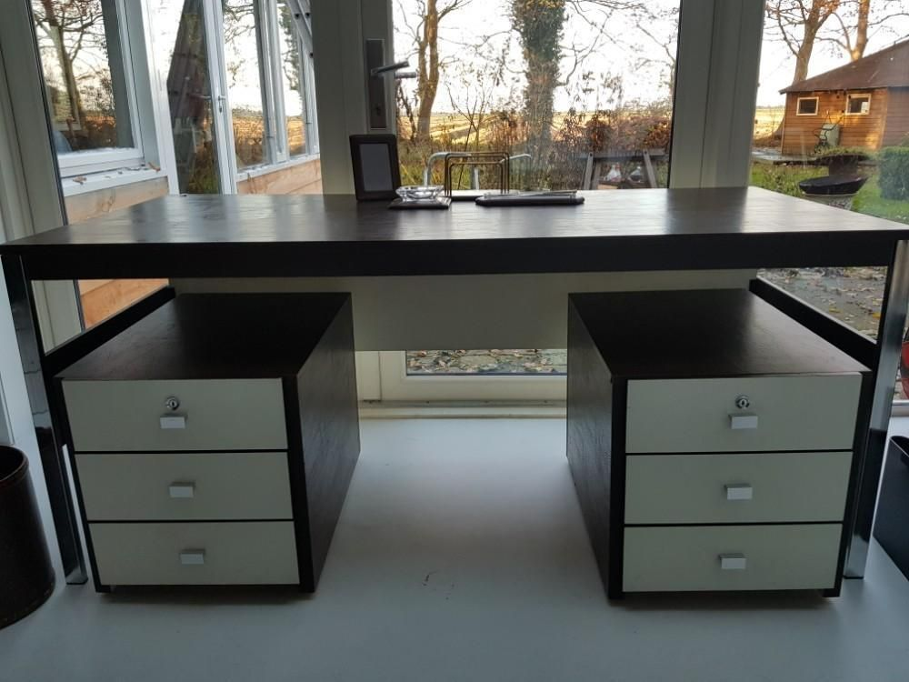 ≥ vintage bureau kunststof leer look met kastjes meurop belgië