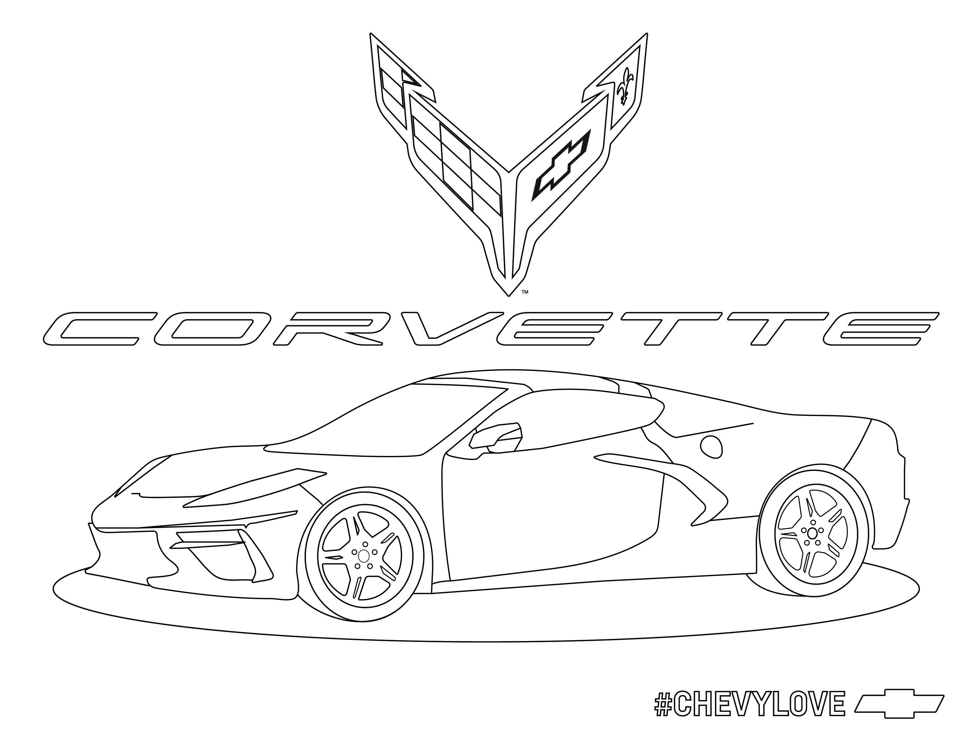 Corvette C8 R Chevy Silverado Hd Coloring Books Car Activities