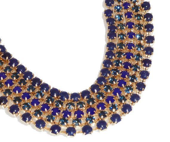 5 righe Blu Royal strass bracciale braccialetto blu di inbalmishan