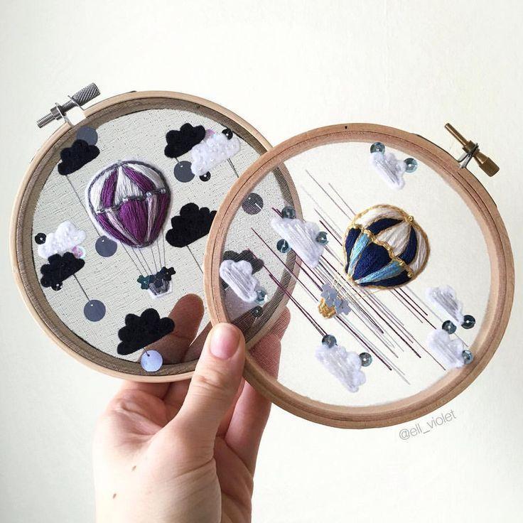 Ell Violet • Embroidery Art sur Instagram: «C'est le dernier ballon en organza laissé dans ma boutique! Je suis heureux que vous les ayez appréciés ☺🎈 Le lien vers la boutique se trouve dans ma biographie ou dans ma recherche sur le Web… »   – Nähen, stricken, häckeln, usw!