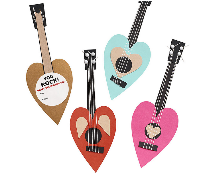 Rock n roll guitar Valentines kit that kids can put together