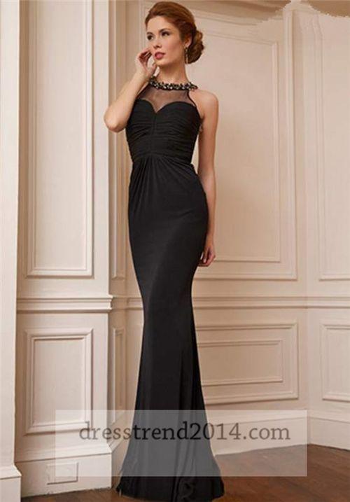 Black Beaded Halter High Neck Open Back Long Prom Dress | Prom ...