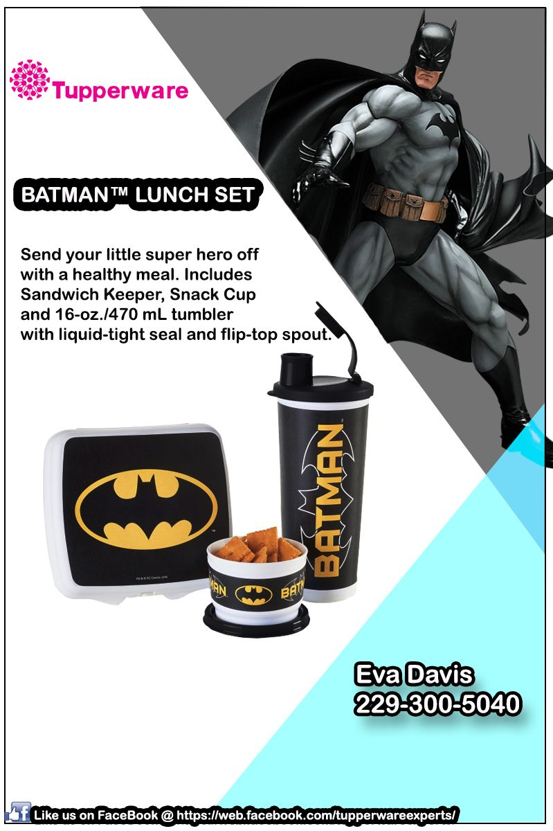 """Introducing New """"Batman Lunch Set"""" Includes: Full (3) piece lunch set, Black/Snow White. Grab yours now! Contact me now to place an order @ (229) 300-5040 VISIT my site @ http://evadavis.my.tupperware.com/ for more details. Like us on FaceBook @ https://web.facebook.com/tupperwareexperts/ #tupperwarebrands #tupperware #consultant #Evastupperwareexperts #Batman"""