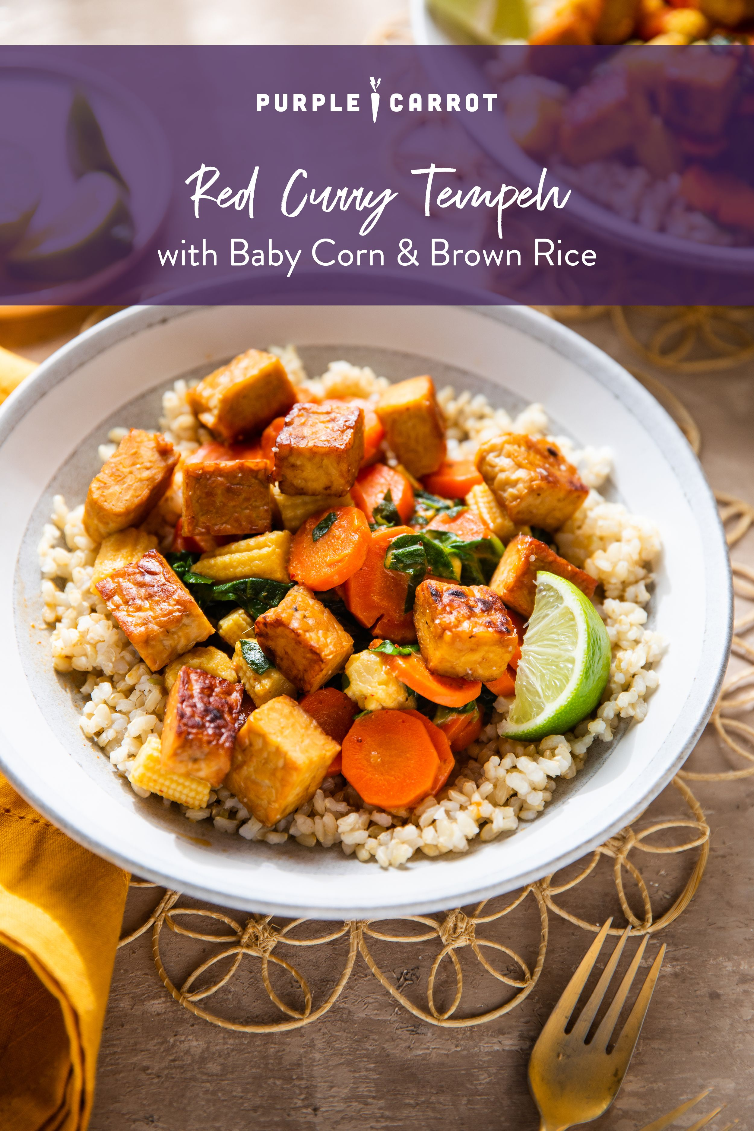 Red Curry Tempeh With Baby Corn Brown Rice