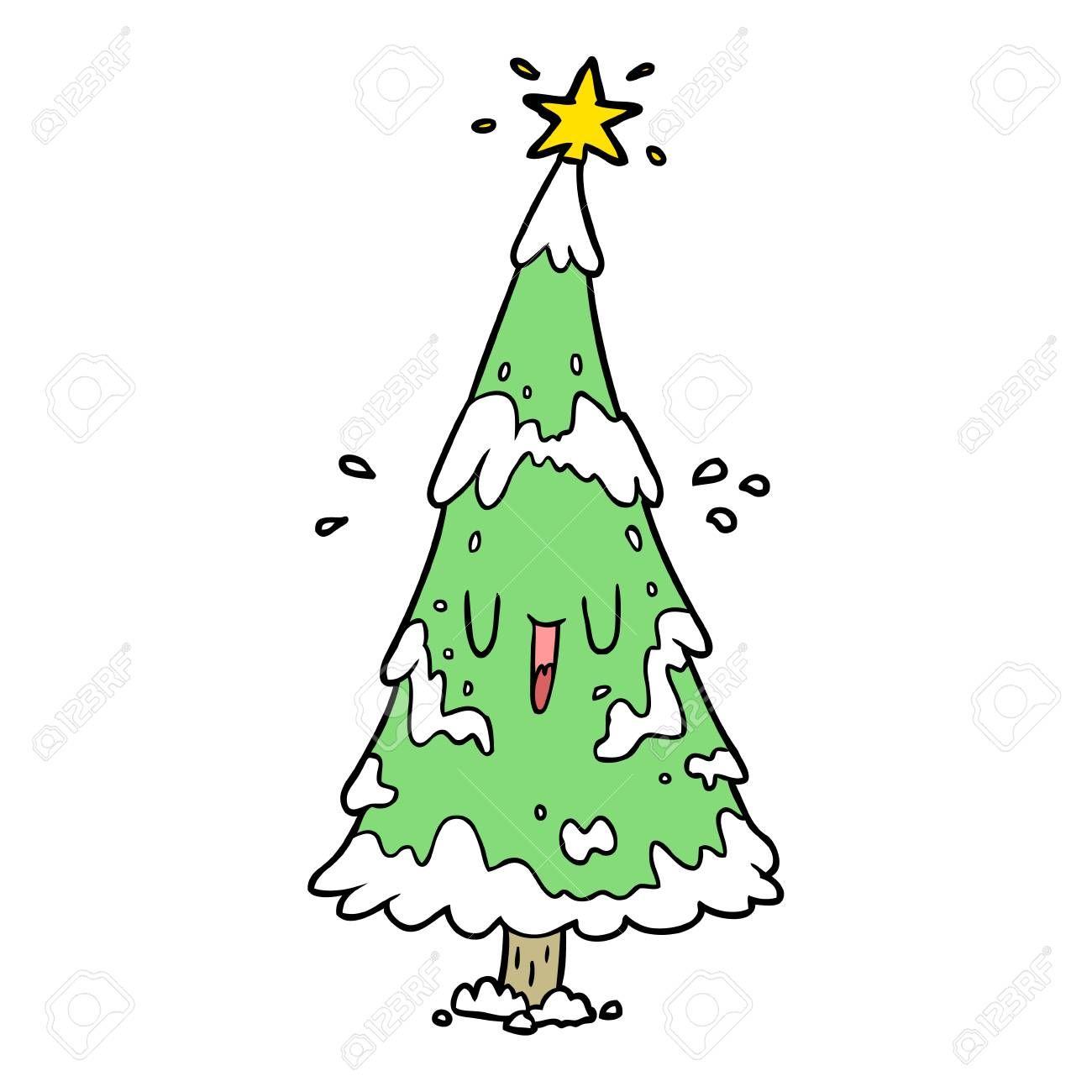 Cartoon Snowy Christmas Tree With Happy Face Sponsored Christmas Snowy Cartoon Face Happy Snowy Christmas Tree Cartoon Character Design Tutorial
