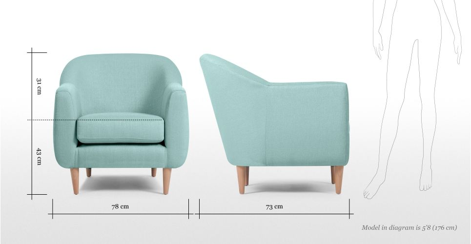 Tubby Armchair In Turquoise Blue Made Com Interior In 2019