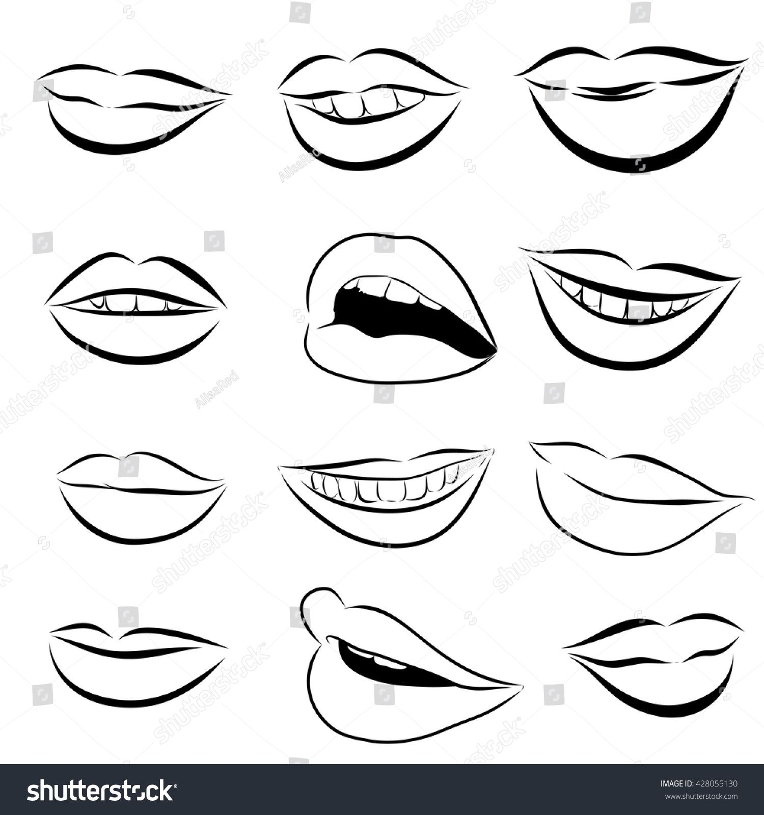 Stock Vector Set Of Pop Art Lips On A White Background Vector 428055130 Jpg 1500 1600 Pop Art Lips Pop Art White Background