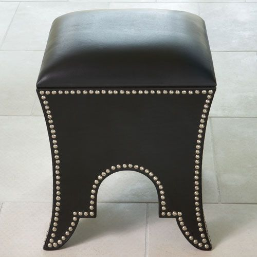 Global Views Moroccan Black Leather Poof