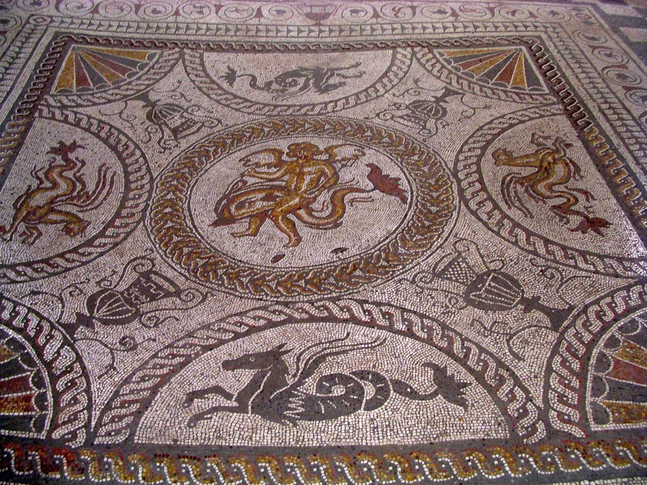 The Boy On A Dolphin Mosaic At Fishbourne Roman Palace